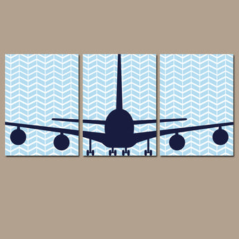 BABY BOY Nursery Wall Art Airplane Wall Art  Child Plane Theme Fly Custom Transportation Personalized Set of 3 Boy Bedroom Canvas or Prints