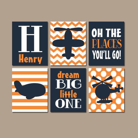 AIRPLANES Wall Art, CANVAS or Prints, PLANES Theme, Big Boy Bedroom Wall Decor, Aviation Theme, Quotes, Places Go, Dream Big, Set of 6 Decor