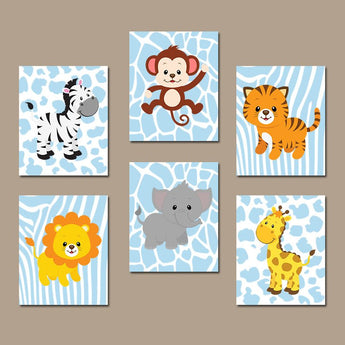 Baby Boy Safari Nursery Wall Art, JUNGLE Animals Decor, CANVAS or Prints, Zoo Animals, Jungle Theme, Safari Animal Decor, Set of 6 Pictures