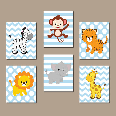 Safari JUNGLE Animal Wall Art, Baby Boy Animal Nursery Decor, Jungle Safari Animals Art, Canvas or Prints, Zoo Theme Nursery Decor Set of 6