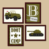 ARMY Wall Art, MILITARY Decor, Big Boy Bedroom Pictures, CANVAS or Prints, Army Theme Decor, Tank Jeep Solider Boot Camp, Set of 4 Pictures