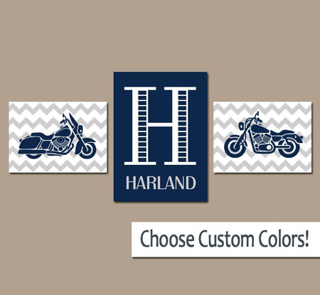 MOTORCYCLE Boy Wall Art, Canvas or Prints Navy Gray Boy Bedroom Monogram Name Initial Wall Art, Set of 3 Transportation Theme Boy Decor