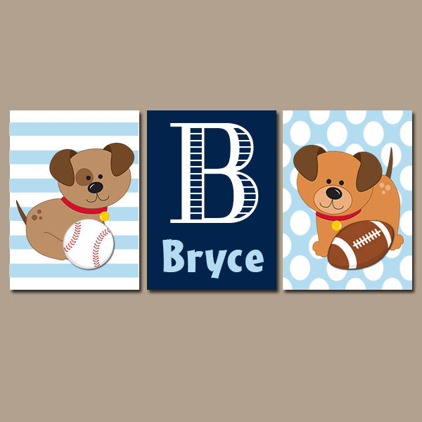 DOG SPORTS Wall Art, Boy Nursery Dogs Wall Art, PUPPY Dog Art, Canvas or Prints, Baby Boy Name Nursery Decor, Big Boy Bedroom, Set of 3