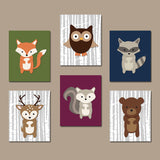 WOODLAND Nursery Decor, Woodland Nursery Theme, Woodland Animals Wall Art, Birch Wood Forest Animals Decor Canvas or Print Set of 6 Art