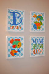 FISH BATHROOM Wall Art, FISH Canvas or Prints, Kid Ocean Animals Decor, Wash Brush Flush Rules, Child Name Decor, Set of 4 Matching Pictures