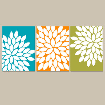 Teal Orange Green Wall Art, Bedroom Kitchen Wall Art, CANVAS or Prints Bathroom Decor, Flower Wall Art, Flower Burst Dahlia Set of 3