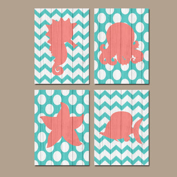 Nautical Wall Art, Canvas or Prints Wood Effect BATHROOM Coral Turquoise BATHROOM Fish Seahorse Octopus Starfish Seahorse Set of 4 Girl