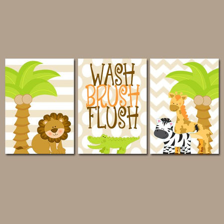 Safari ANIMAL Bathroom Wall Art, Canvas or Prints, Zebra Giraffe Lion Tree, Girl Boy Child Bathroom, Gender Neutral, Zoo Art, Set of 3