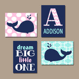 Girl WHALE Nautical Wall Art, Whale Canvas or Prints, Baby Girl Whale Nursery Decor, Nautical Girl Bedroom, Set of 4 Dream Big Little One
