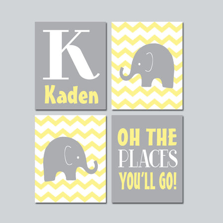 Yellow Gray ELEPHANT Decor, CANVAS or Prints, Baby Boy Nursery Elephant Wall Art, Yellow Gray Boy Elephant Nursery Decor Quote Set of 4