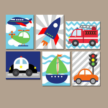 TRANSPORTATION Wall Art, TRANSPORTATION CANVAS or Prints, Big Boy Bedroom Wall Decor, Plane Police Fire Truck Car Boat Rocket, Set of 6