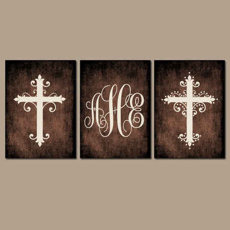 CROSS Wall Art, Canvas or Prints Family Monogram, Grunge Effect Personalized Initials Custom Wedding Shower Gift, Couple Set of 3 Home Decor