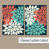 Flower Wall Art, CORAL Turquoise Navy Bedroom Canvas or Prints, Bathroom Decor, Flower Bedroom Wall Decor, Living Room Artwork, Set of 2