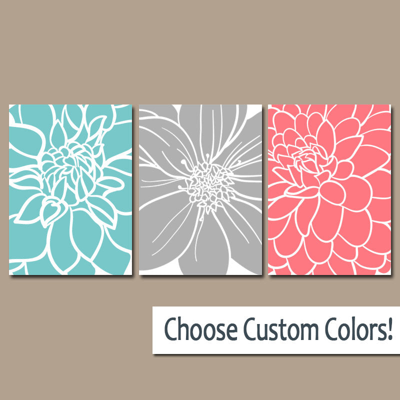 BEDROOM Wall Art, CANVAS or Prints Aqua Gray Coral Bedroom Decor, Floral BATHROOM Wall Decor, Large Flower Burst Petals Set of 3 Home Decor - TRM Design
