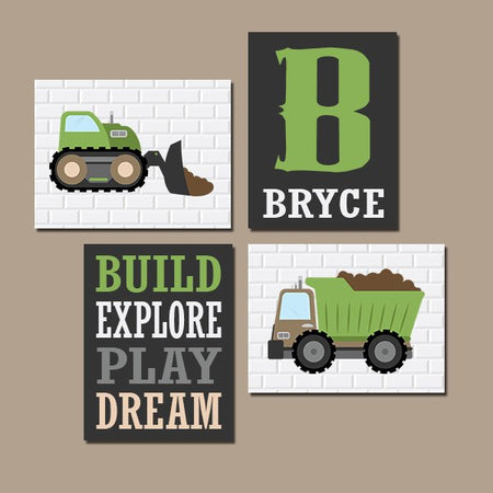 CONSTRUCTION Wall Art, Construction Decor, CANVAS or Prints, Dump Truck Pictures, Big Boy Room Decor, Transportation Theme Set of 4 Pictures