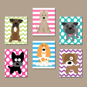 DOG Wall Art, CANVAS or Prints, Baby Girl Nursery Decor, Puppy Art, Girl Bedroom Decor, Dog Theme, Dog Wall Decor, Set of 6, PLAYROOM Decor