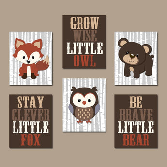 WOODLAND Nursery Wall Art, Woodland Nursery Decor, Carter Forest Animals, Owl Fox Bear Quotes Canvas or Prints Set of 6, Woodland Baby