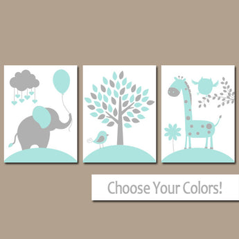 AQUA GRAY Nursery Wall Art Canvas or Prints Baby Boy Nursery Decor, Elephant Giraffe Tree, Jungle Safari Animals, Set of 3 Crib Decor - TRM Design