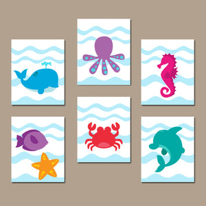 Sea Animals Bathroom Wall Art, Ocean Animals Bathroom Decor, CANVAS or Prints Set of 6