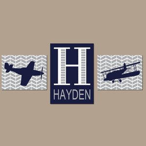 AIRPLANE Wall Art, Baby Boy Nursery Decor, Airplane Decor, AVIATION Theme Pictures, Personalized Boy Name Initial, Big Boy Bedroom Set of 3