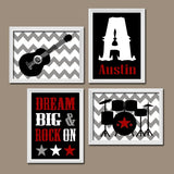 GUITAR Wall Art, Guitar Nursery Art, Music Theme Baby BOY Nursery Decor, Big Boy Room, Guitar CANVAS or Prints Dream Big Rock On, Set of 4