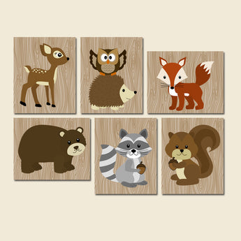 WOODLAND Wall Art, Woodland Nursery Decor, CANVAS or Prints, Wood Forest Animals Decor, Forest Pals Wall Decor, Rustic Nursery, Set of 6