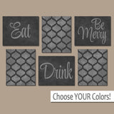 EAT DRINK be Merry Wall Art, Farmhouse Kitchen Canvas Prints Set of 6 TRMdesign