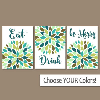 KITCHEN Wall Art, Eat Drink Be Merry, CANVAS or Prints Flower Burst, Kitchen Decor, Bar Decor, Kitchen Wall Decor, Set of 3 Home Decor