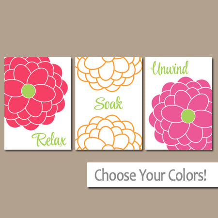 Girl BATHROOM Wall Art, CANVAS or Prints, Relax Soak Unwind, Flower Burst, Sister Bathroom, Colorful Home Decor Set of 3 Bath Decor Pictures