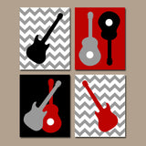 GUITAR Wall Art, Music Theme Nursery, Big Boy Bedroom Wall Decor, CANVAS or Prints Music Art Rock N Roll Rock and Roll Wall Art, Set of 4