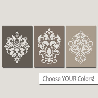DAMASK Wall Art Canvas or Prints Brown Bedroom Wall Decor, Brown Bathroom Decor, Brown Ombre Design, Set of 3, Beige Home Decor Wall Decor - TRM Design