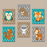 WOODLAND Nursery Decor, Woodland Animals Decor, Wood Forest Animals, Woodland Animals, Bear Fox Owl Raccoon Deer, Canvas or Prints Set of 6