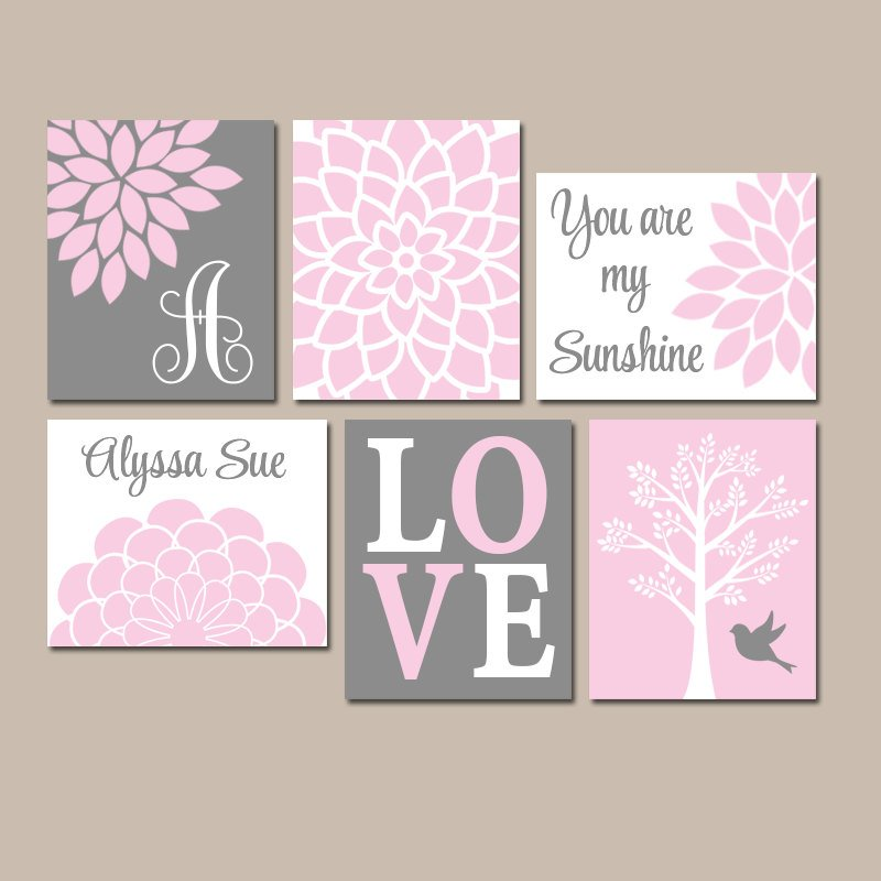PINK GRAY Nursery Wall Art, CANVAS or Prints, Baby Girl Nursery Decor, Personalized Girl Wall Decor, Sunshine Set of 6 Above Crib Wall Decor