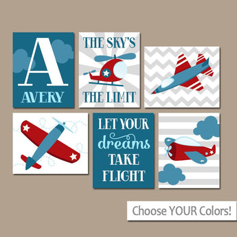 AIRPLANES Wall Art, Airplane Take Flight Quote Plane CANVAS or Prints Set of 6