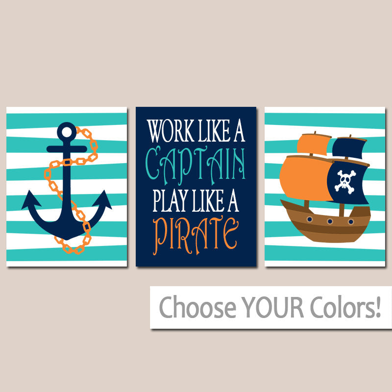 PIRATE Wall Art, Pirate Decor, Work Like A Captain, Pirate Baby BOY Nursery Decor, Big Boy Room Wall Decor, Pirate CANVAS or Prints Set of 3