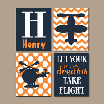 AIRPLANE Wall Art, CANVAS or Prints, Baby Boy Nursery Decor, Helicopter Aviation Theme, Big Boy Bedroom Wall Decor, Take Flight Set of 4