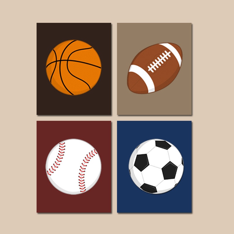 SPORTS Wall Art, Sports Balls CANVAS or Print, BOY Sports Theme Nursery Decor, Big Boy Bedroom, Soccer Football Baseball Basketball Set of 4