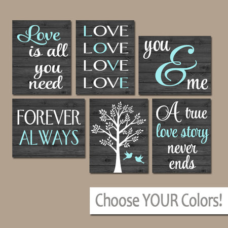 FAMILY Wall Art, Canvas or Prints Custom LOVE Story QUOTES Art, Family Tree, Love is All You Need, Wedding Gift Shower, Set of 6 Home Decor