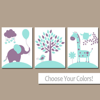 Aqua Purple Nursery Wall Art Canvas or Prints Baby Girl Decor, Balloon Elephant Giraffe Tree, Jungle Safari Animals, Set of 3 Decor - TRM Design