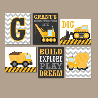 CONSTRUCTION Decor, Construction Birthday Gift, Construction Baby Shower, Construction Party Props, Construction Theme, Set of 6 - TRM Design