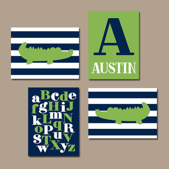ALLIGATOR Wall Art, BABY BOY Nursery Wall Art, Custom Boy Bedroom Decor Stripes A B C Alphabet, Navy Green Set of 4 Canvas or Print Pictures