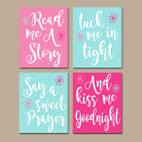 PINK PURPLE Nursery Wall Art,CANVAS or Print,Nursery Quote Decor,Read Me A Story,Kiss Me Goodnight,Rhyme Quote,Baby Crib Decor,Set of 4
