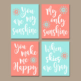 CORAL AQUA You Are My Sunshine Wall Art, CANVAS or Prints Baby Girl Nursery Song Rhyme Quote Decor, Girl  Set of 4 Decor, Gift for Girl - TRM Design