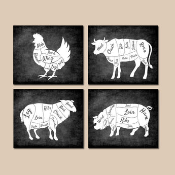 Farmhouse Wall Art, Kitchen Decor, Meat Cuts Print, Butcher DIAGRAM Chart, Rustic Kitchen decor, Chalkboard Decor, Canvas or Print, Set of 4