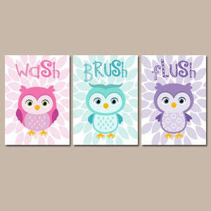 Girl OWL BATHROOM, Owl Bath Decor, CANVAS or Prints, Shared Sister Bathroom, Owls Theme, Wash Brush Flush  Bath Rules, Set of 3 Wall Decor