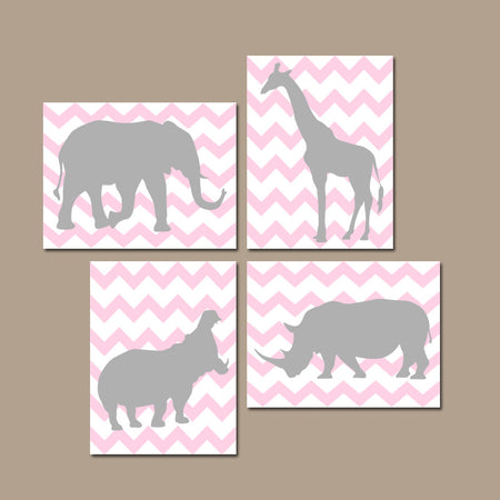 Girl SAFARI Animals Nursery Art, Pink Gray Nursery Decor CANVAS or Prints Set of 4 Pictures