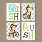 MONKEY Bathroom Wall Art, Monkey Bathroom Decor, Girl Boy Bathroom Rules, Canvas or Prints, Wash Brush, Brother Sister Bathroom, Set of 4