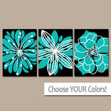 Turquoise Black Flower Wall Art, CANVAS or Prints Turquoise Black Bedroom Decor, Turquoise Bathroom Wall Decor, Set of 3 Flower Home Decor