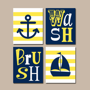 Nautical BATHROOM Wall Art, CANVAS or Prints, Yellow Navy Bathroom, Brother Sister, Ocean Anchor Sailboat, Set of 4 Wash Brush Bath Rules