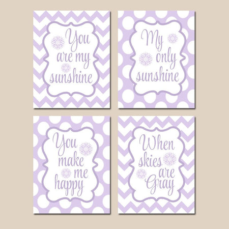 Purple Lilac You Are My SUNSHINE Wall Art, CANVAS or Print Purple Lilac Baby Girl NURSERY Decor, My Sunshine Nursery Quote Decor Set of 4